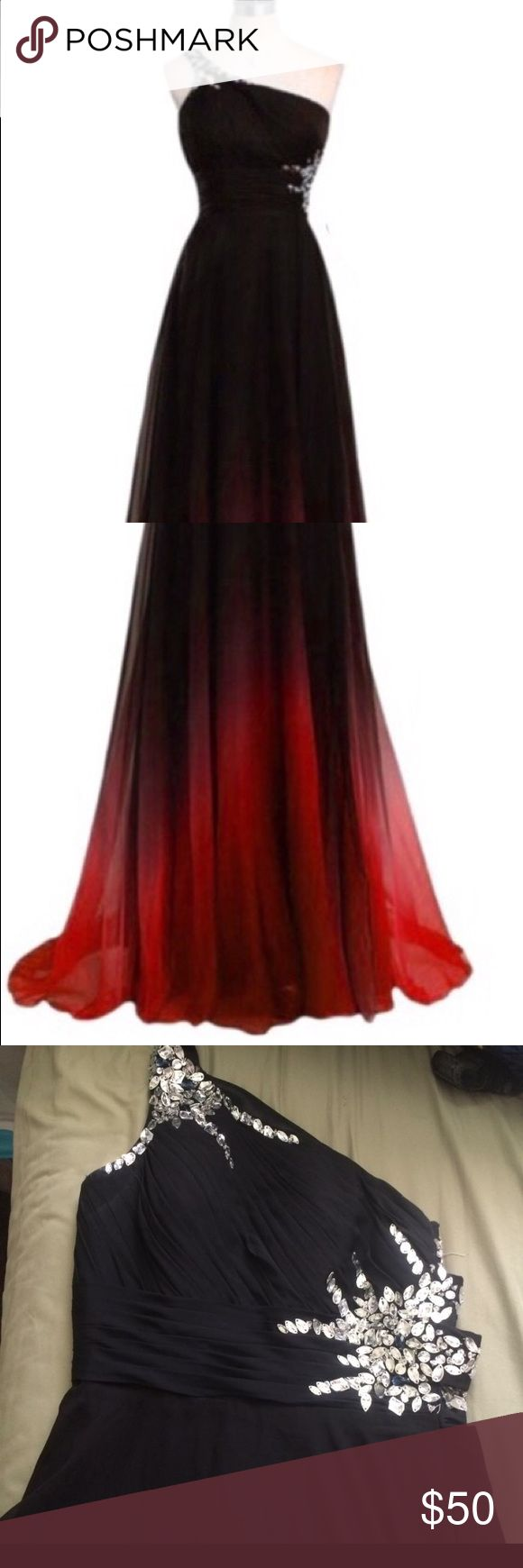 Black and red ombre prom dress Red and black ombre prom dress w/ sequins. Worn once. Dresses Prom