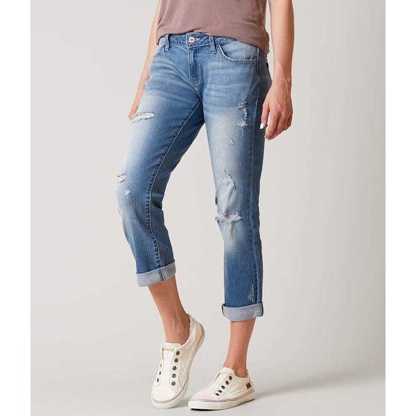 KanCan Low Rise Skinny Stretch Cropped Jean - Blue 22 ($38) ❤ liked on Polyvore featuring jeans, blue, blue ripped skinny jeans, cuffed skinny jeans, stretch skinny jeans, super stretchy skinny jeans and skinny jeans