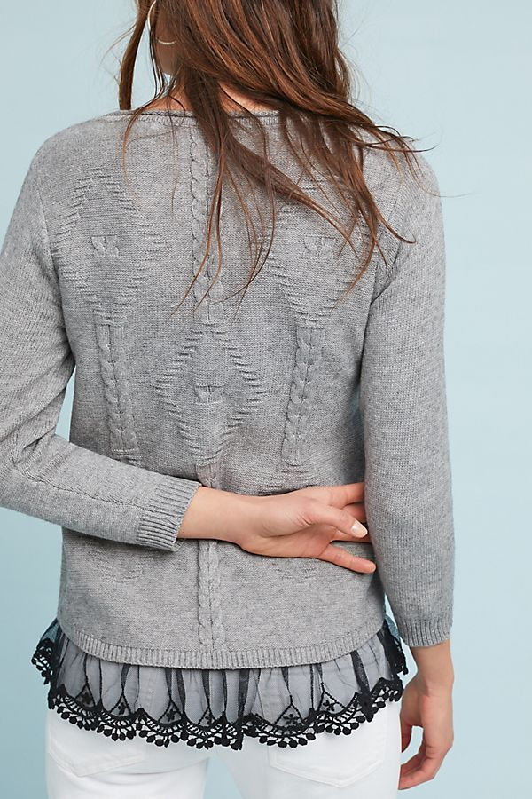 DIY Idea  add lace trim to the bottom of a sweater for elegant detail  58500727b