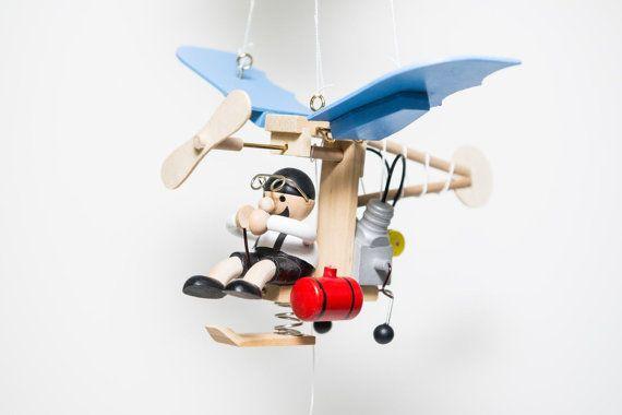 Wooden hanging mobile propeller plane airplane decorwooden