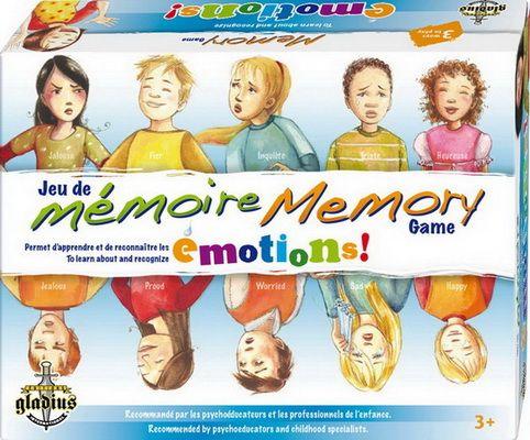 3199700095796 Jeu de mémoire des émotions. Il s'agit de jumeler des paires d'images identiques illustrant des émotions, celui qui en accumule le plus gagne la partie.  Mention 6/6 Guide Jouets Option Consommateurs 2009 Bilingue (français/anglais). Recommandé par les psycho-éducateurs et les professionnels de l'enfance, ce jeu de mémoire éducatif et amusant propose aux enfants d'entraîner leur mémoire visuelle tout en apprenant à reconnaître différentes émotions.