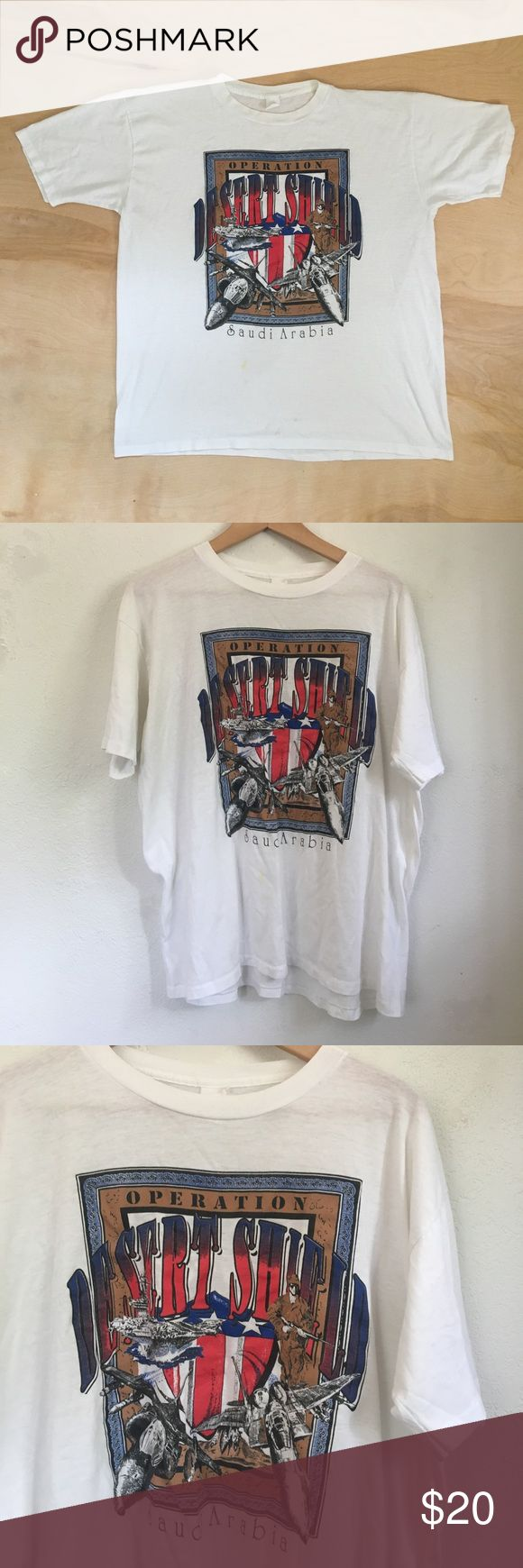 Vintage Operation Desert Shield Saudi Arabia Shirt Faded tag - Extremely thin fabric - A few stains (shown in 4th photo) - In Rad vintage condition - Recommended size: Large - Shoulder to shoulder: 21 in // Length: 26 in Vintage Shirts Tees - Short Sleeve