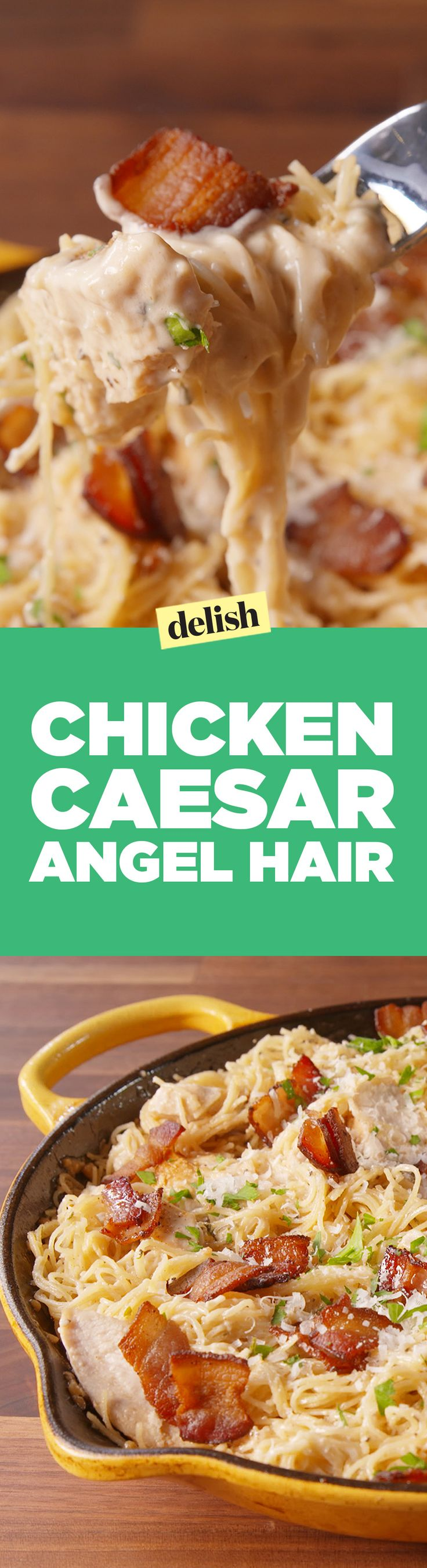 Chicken caesar angel hair will make want to put caesar dressing on everything. Get the recipe on Delish.com.