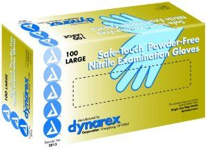 Safe-Touch Non Sterile Blue Nitrile Exam Gloves, Non-Latex, Large, Powder-Free, Box of 100 by Dynarex. $11.77. Range is 3.5 — 5 Mil.. Features: • An Alternative to latex gloves. • Contains no allergy causing natural rubber proteins. • Excellent tactile sensitivity. • More puncture resistant than latex or vinyl gloves of similar thickness. The product referenced on this detail page is sold be 100/Bx.