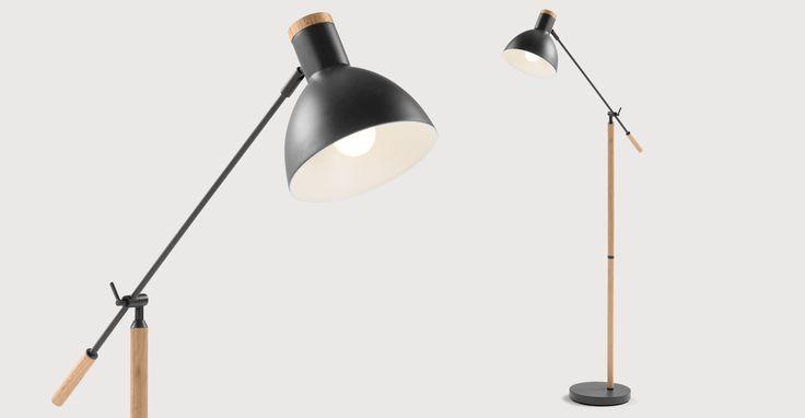 Cohen Floor Lamp, Deep Grey and American Oak