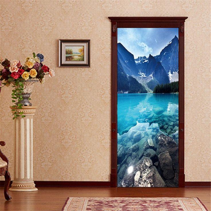ZB30 Creative 3D Landscape Gate Elevator Corridor Decorative Wall Stickers Living Room Door Sticker - MIXCOLOR 77 X200 CM