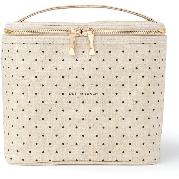 kate spade new york 'Out to Lunch' Cooler Bag ($31) ❤ liked on Polyvore featuring home, kitchen & dining, food storage containers, lunch cooler, polka dot lunch box, lunch box, outdoor cooler and picnic lunch box