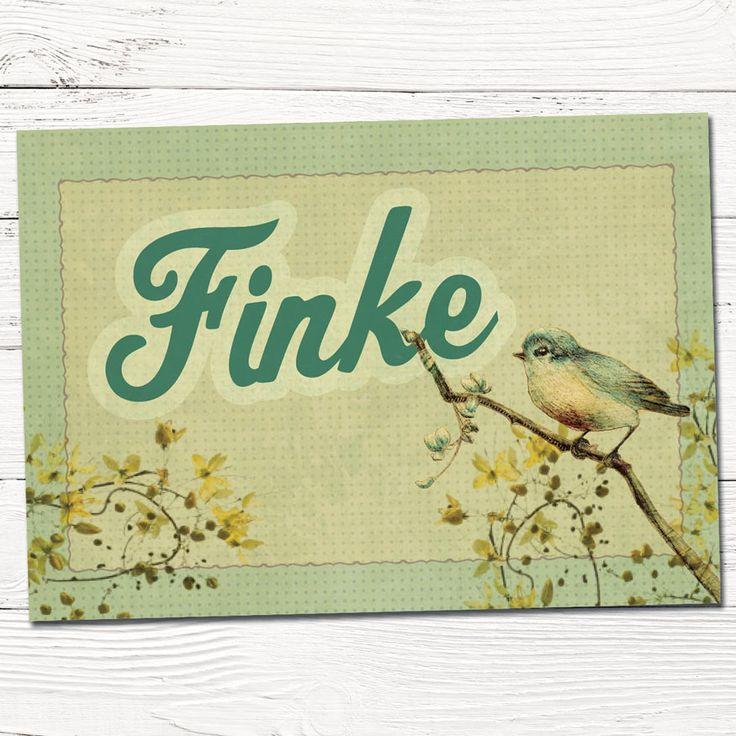 Geboortekaartje retro vogel boom   ontwerp op maat   vintage   babykaartjes   stempel   grafisch   ontwerp