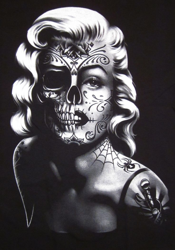 2720 best images about dia de los muertos art on pinterest for Marilyn monroe tattoo canvas