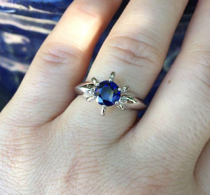 Round Shape Blue Tanzanite Gemstone Engagement Ring 14k White Gold Ring 1.00 ct  #GoldJewellery17 #Solitaire