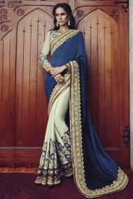 Georgette Heavy Embroidery Designer Saree In Blue and Off White Colour