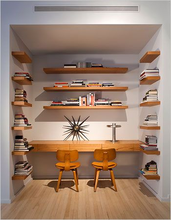 Martina Abromovic residence, NY | Nice, simple working surface with shelves. And hey, those are my Thonet chairs!