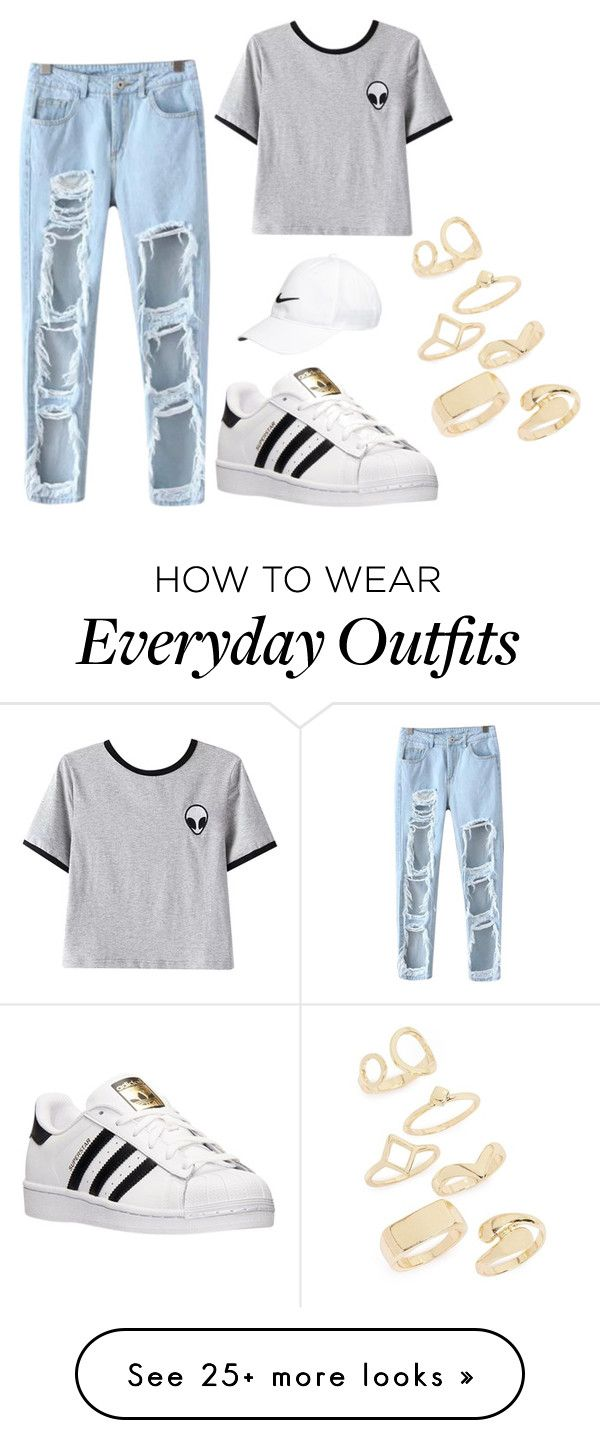 """Casual outfit for everyday"" by chloe-rose-ii on Polyvore featuring Chicnova Fashion, adidas, NIKE and Topshop"