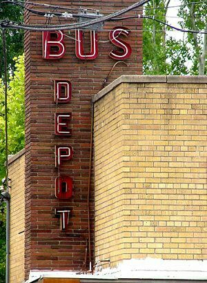Conroe TX Trailways Bus Depot Red And Brick Is A Nice Combination