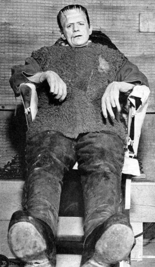 William Henry Pratt (1887 - 1969), better known by his stage name Boris Karloff - Behind the scenes shots of Frankenstein, 1931.