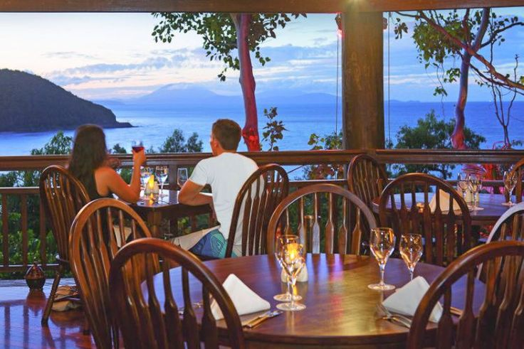 Hello sunset drinks! The view from Ospreys Restaurant at Thala Beach near Port Douglas in QLD.