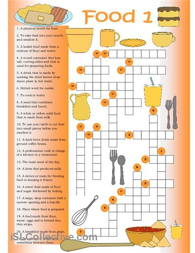 Crossword on food vocabulary.