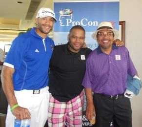 Actors Stephen Bishop and Anthony Anderson with comedian George Lopez at the Celebrity Golf Classic benefiting ProCon.org and March of Dimes Canada