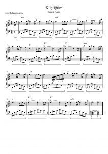 Kucugum Piyano Notasi Piyano Piano Nota Score Piyano Notalara Dokulmus Muzik Muzik Notalari