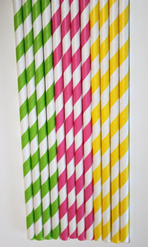 50 lime green hot pink yellow stripe paper by PartyDelights, $8.00