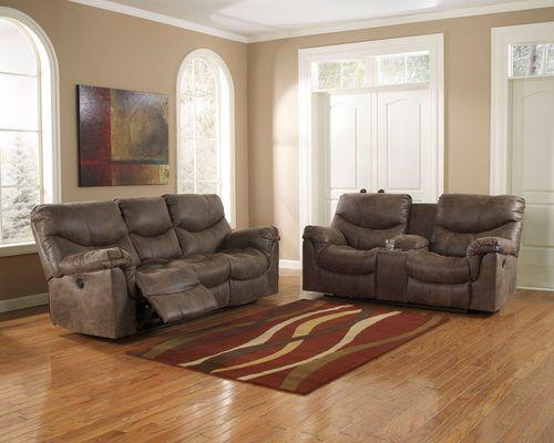 Ashley Alzena Gunsmoke Reclining Sofa Couch Double Rec Loveseat With Console Reclining Sofa Living Room Living Room Sets Couch And Loveseat