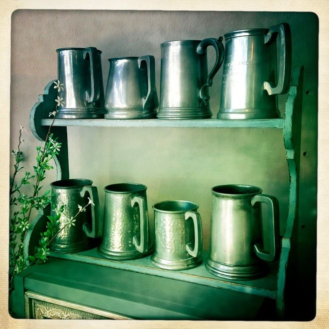 Pewter mugs...to be used as flower vases