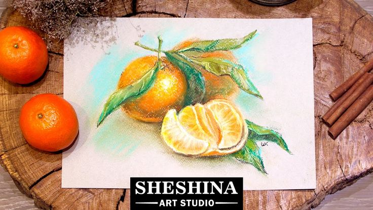 How to draw a mandarins with soft pastels 🎨 Speed Painting | Sheshina Ek...