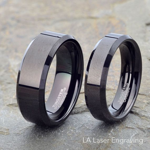 Black Polished Tungsten wedding Set Beveled by LALaserEngraving