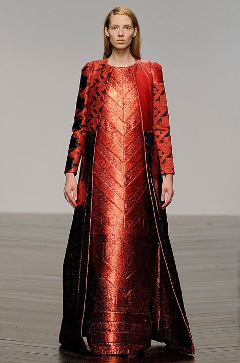 Sadie Williams created the embossed effects on the dresses in her Totemic collection by sandwiching layers of neoprene,
