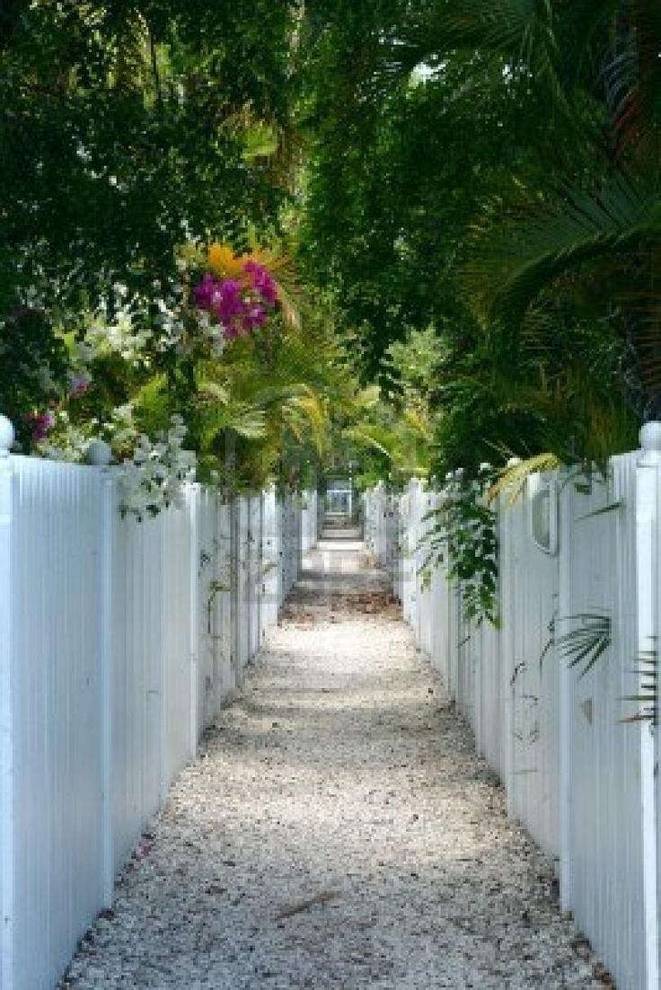 A pebble walkway through white picket fences and lush tropical foliage