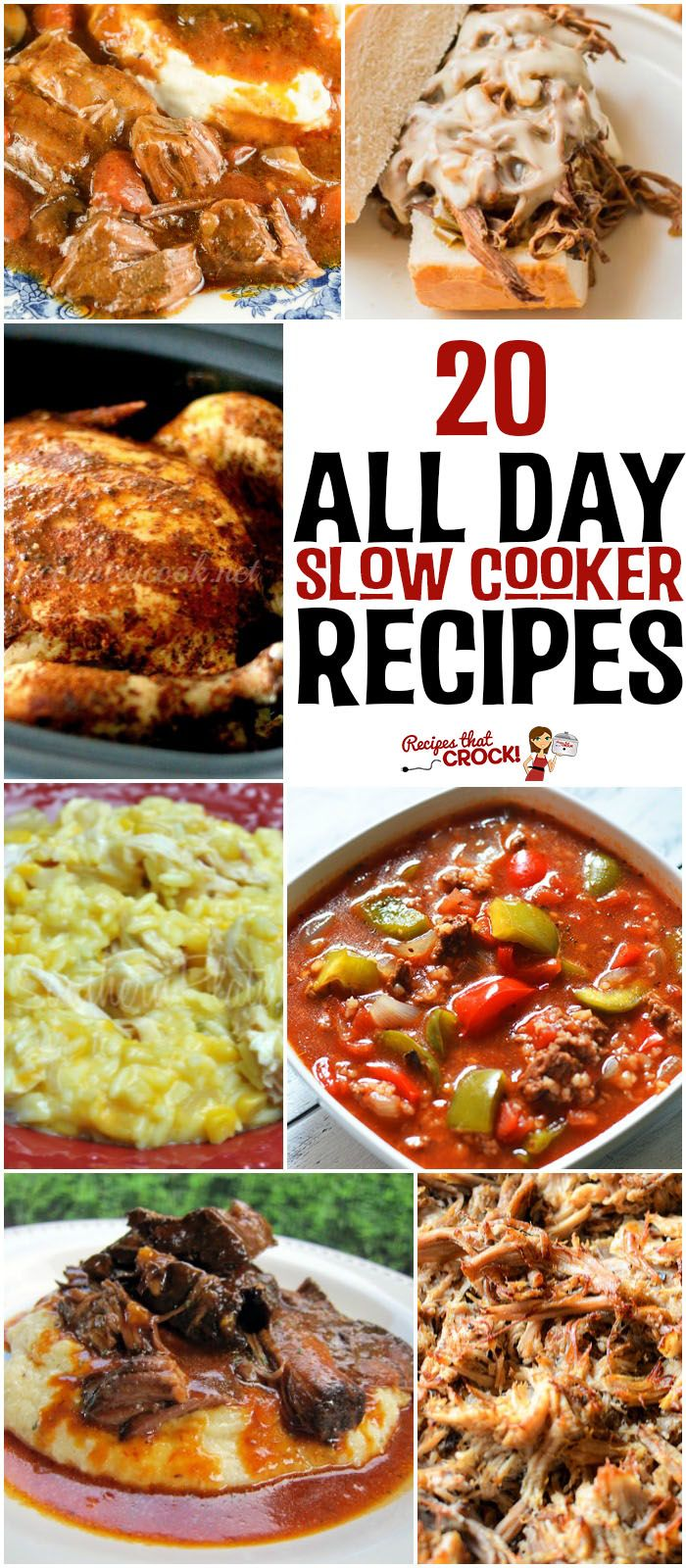 20 All Day Slow Cooker Recipes: Do you wish you had more ALL DAY slow cooker recipes that you fix in the morning and come home to a perfectly cooked meal? We have pulled together our favorite long cooking crock pot recipes and asked the best cooks we know to tell us theirs as well. Mississippi Roast, Pork Carnitas, Crock Pot Stuffed Pepper Soup, Slow Cooker Cheesy Chicken and Rice, BBQ Whole Chicken, Steak Tacos, Philly Cheesesteak and much, much more!