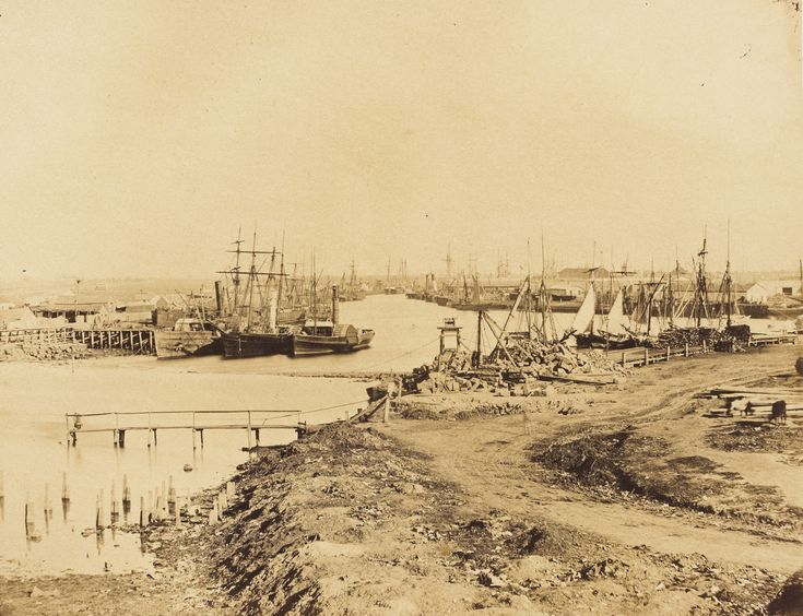 By 1858, we can already see the altered state of the Yarra River.