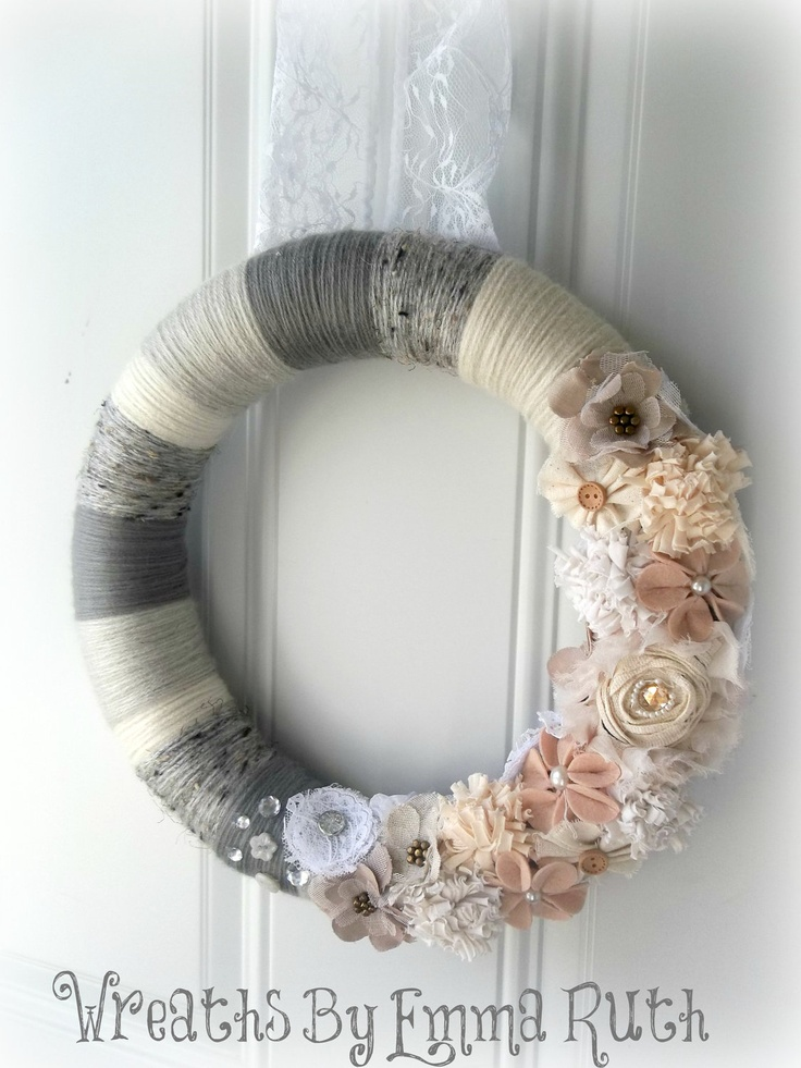 Wedding Lace Vintage Winter Yarn Wreath in Creams, Whites, and Gray with lots of flowers and embellishments. $50.00, via Etsy. Gorgeous
