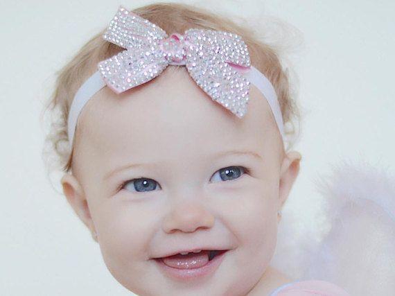 Baby Bow Headband Pink Headband Flower Girl by AllureDesignsAU