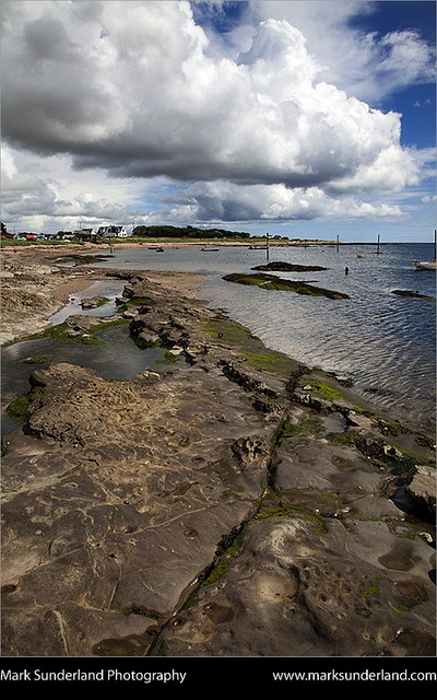 Gathering Storm Clouds and Rocks on the Beach at Carnoustie Angus, Scotland
