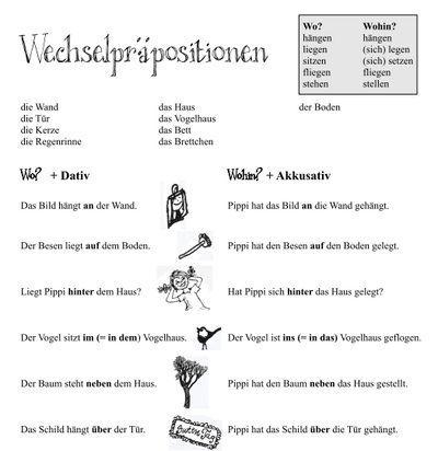 Wechselpräpositionen - pdf worksheet for German changing prepositions, Pippi Langstrumpf