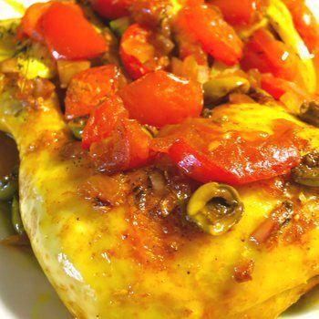 Kip met citroen, gember, olijven en tomaten - Pascale Naessens