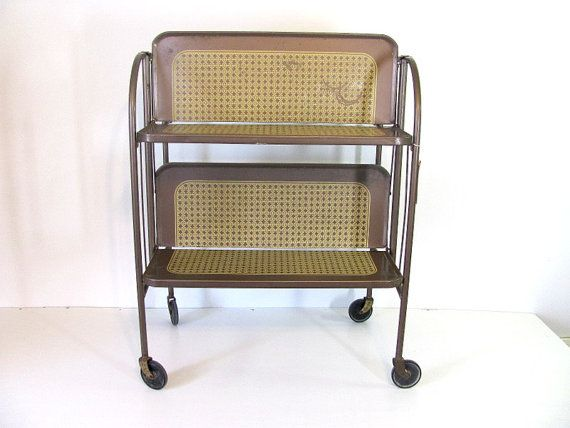 vintage brown metal folding style cart table kitchen