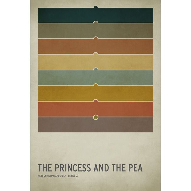 Image of The Princess and the Pea by Christian Jackson: Poster Frame-Black, Book Poster, Color Schemes, Christianjackson, Minimalist Poster, Christian Jackson, Princesses, Children Book, Fairies Tales