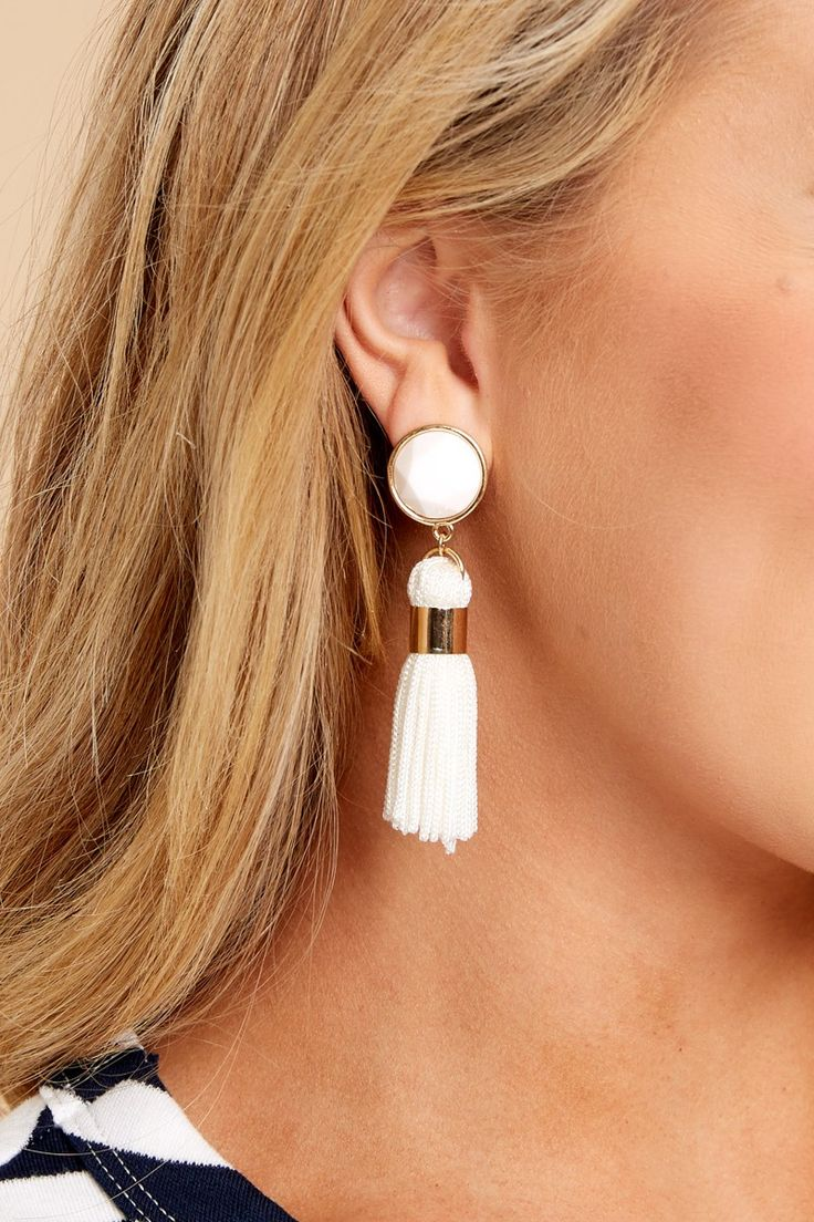 2 A Sure Shot White Tassel Earrings at reddressboutique.com