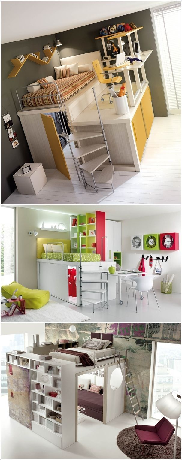 Mini loft bed with slide   best Space Saving Bed Ideas images on Pinterest  Closet storage