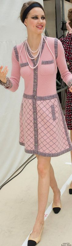 Chanel ~ Fall Pink+Grey Knit Midi Dress, 2015 Backstage