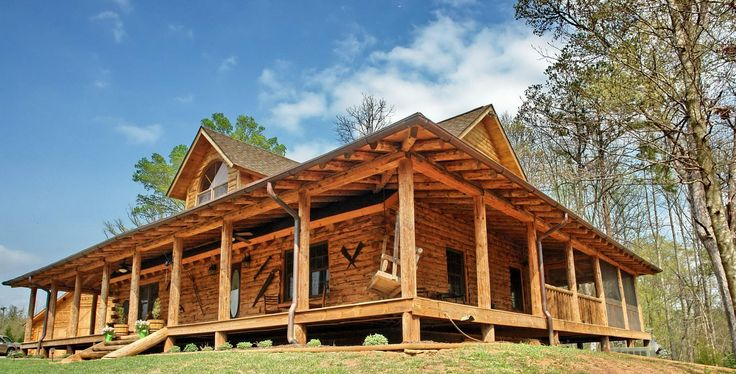Pinterest the world s catalog of ideas for Log homes with wrap around porch