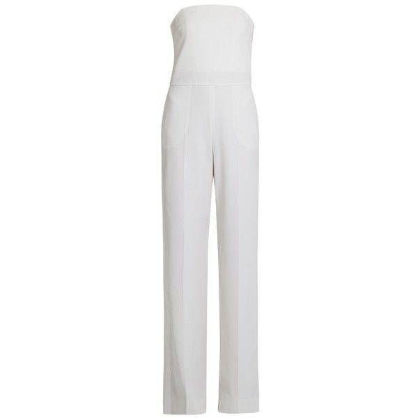 Stella McCartney Aio wide-leg wool jumpsuit ($689) ❤ liked on Polyvore featuring jumpsuits, white, wide leg jumpsuits, stella mccartney, special occasion jumpsuits, stella mccartney jumpsuit and white jumpsuit