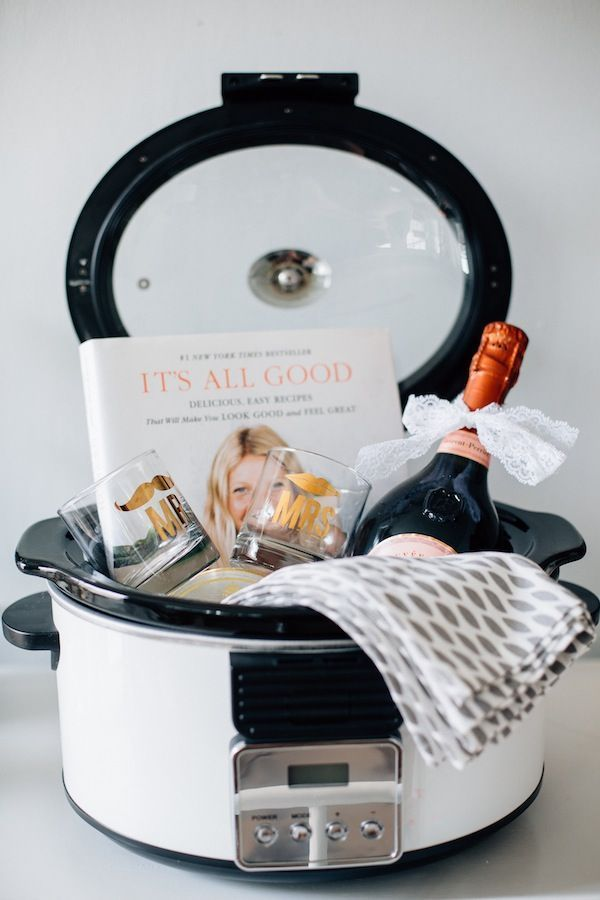 """Great bridal shower gift """"basket""""! Check out more of our favorite bridal shower gifts on our new blog post! #DonnaMorgan #BridalShower"""