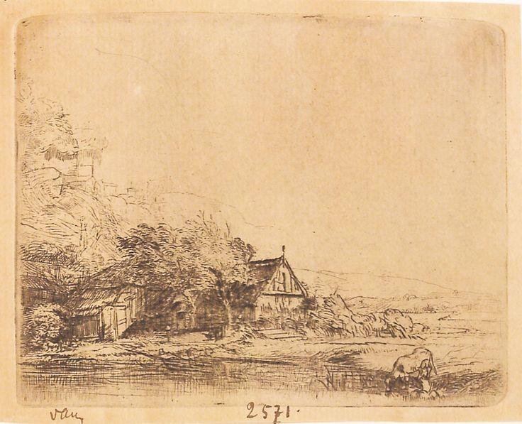 """Peisaj rural cu o vacă care se adapă, 1650. Imagine din colecțiile Bibliotecii """"V.A. Urechia"""" Galați."""