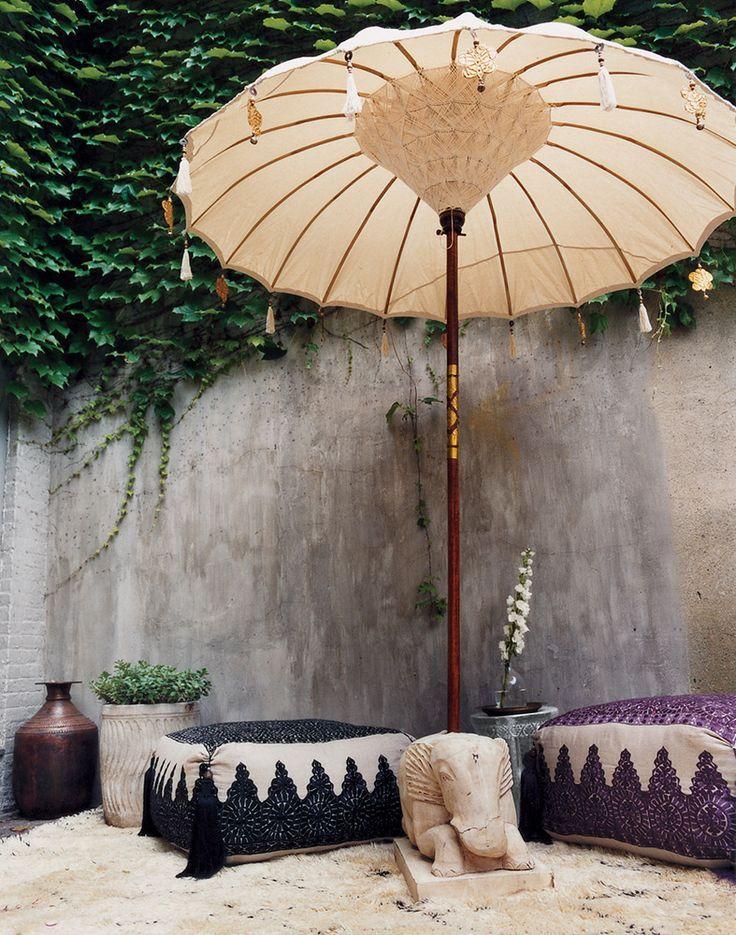 Moon to Moon: Bohmian Garden: Relaxing Under a Parasol
