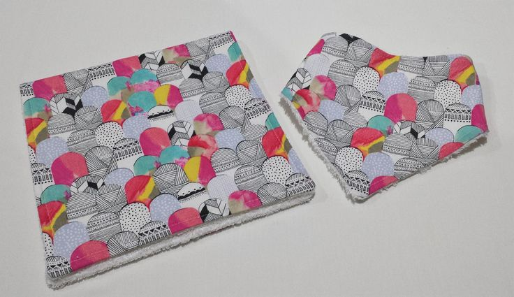 Ready To Post - Bamboo Bib and Burp Cloth Gift Set - Scale Multi Abstract by MattynMe on Etsy