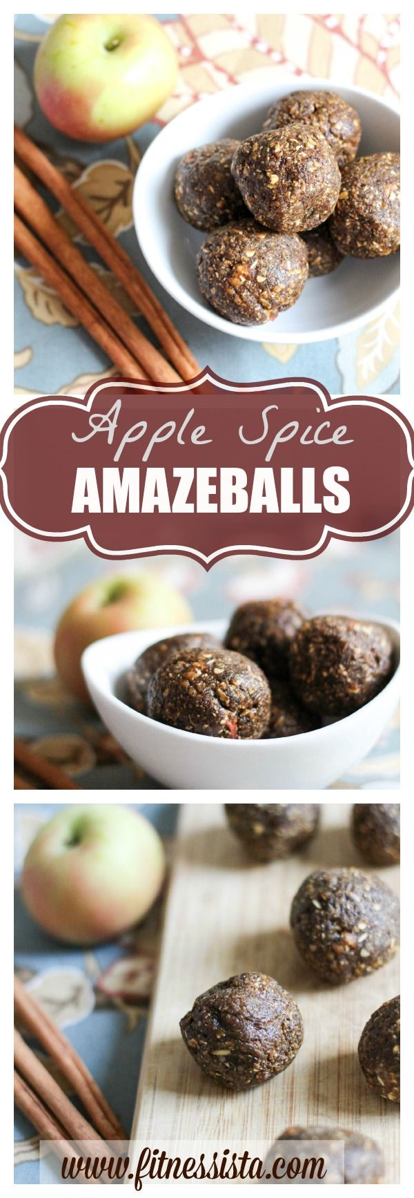Apple spice amazeballs. All clean eating ingredients are used to make these healthy energy bites! Pin this healthy snack recipe to make later!!