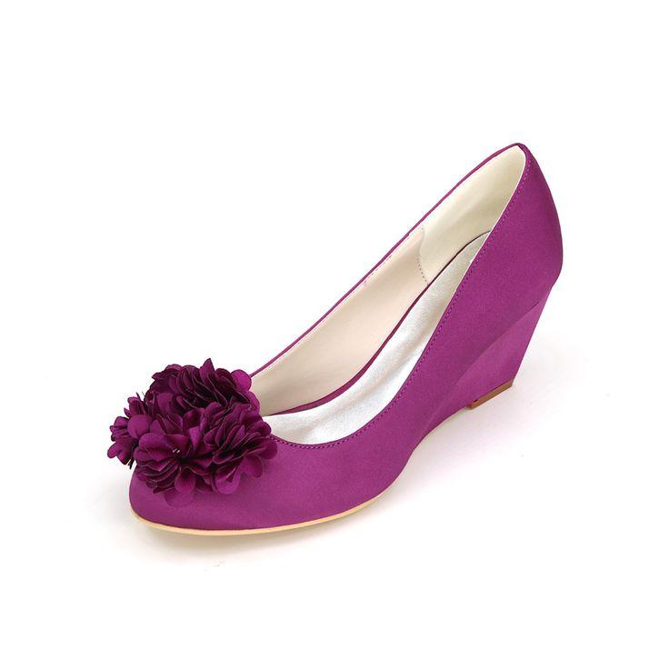 Закрыты носок клина на каблуках с лепесток сладкий люкс невесты свадебные туфли атласные вечерние платья каблуки фиолетовый белый кот синий(China (Mainland))